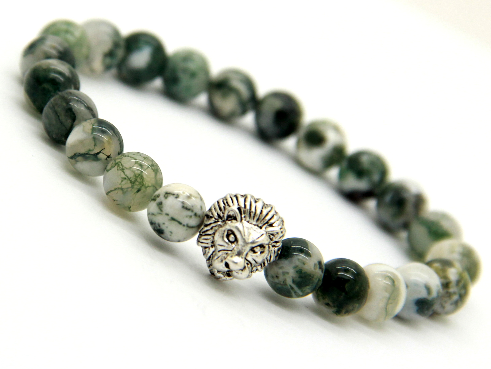 Natural Tree Grain Stone Lion Head Bracelet