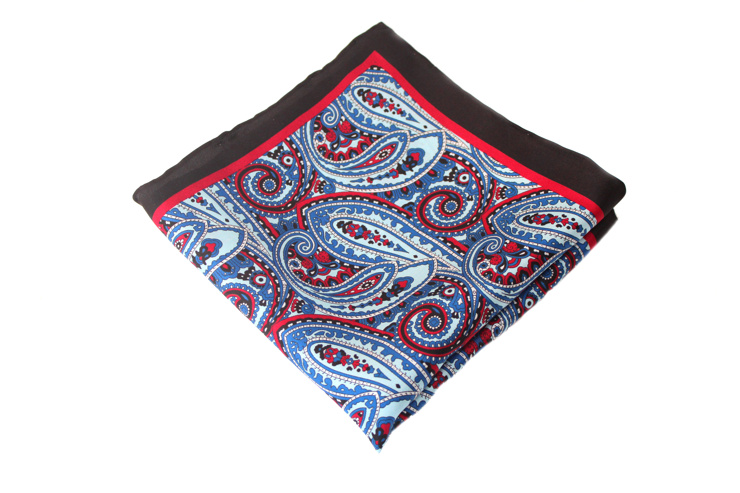 60790be680439 Navy and Red Paisley Pocket Square | Zarini